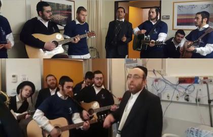 Volunteers in Shaarei Tzedek with kind men • 'Yiddishe Mama'